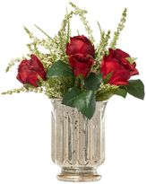Linea Red roses and heather in gold vase
