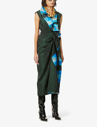Dries Van Noten Snake-print ruffled wool midi dress