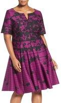 Gabby Skye Floral Print A-Line Dress (Plus Size)