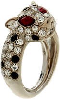 Kenneth Jay Lane Silver Panther Ring With Encrusted Crystals