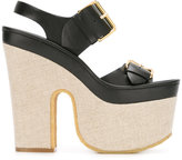 Stella McCartney slingback buckled platform sandals - women - Polyamide/Polyester/Canvas/rubber - 36