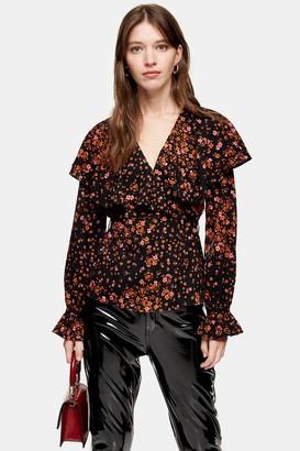 Topshop Womens Fallen Floral Bloom Angel Sleeve Blouse - Black