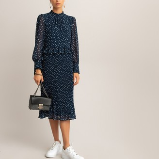La Redoute Collections Polka Dot Midi Dress with Long Puff Sleeves and Ruffled Overlay