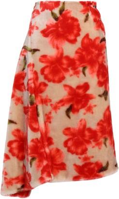 Jil Sander Asymmetric Faux Fur Midi Skirt