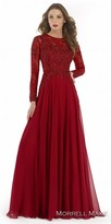 Morrell Maxie Classic Long Sleeve Chiffon and Lace Evening Dress