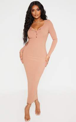 PrettyLittleThing Shape Camel Ribbed Button Front Long Sleeve Midaxi Dress