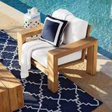 Williams-Sonoma Williams Sonoma Sunbrella Outdoor Solid Pillow Cover with White Border, Navy