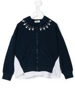 MonnaLisa crystal embellished bomber jacket - kids - Cotton/Polyester/Spandex/Elastane - 10 yrs