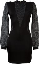 Balmain plunging lace panels dress - women - Polyamide/Viscose - 40