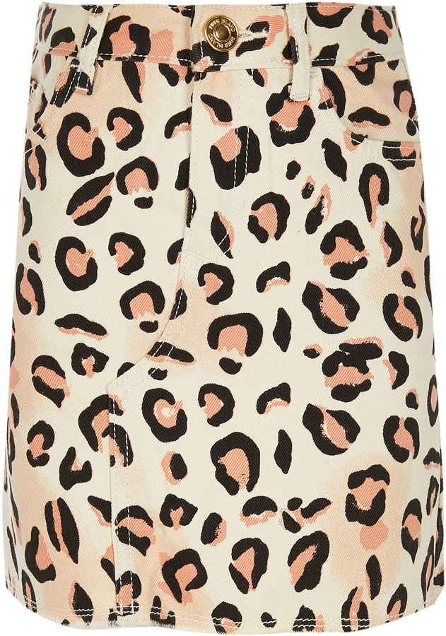 River Island Girls natural leopard print denim skirt
