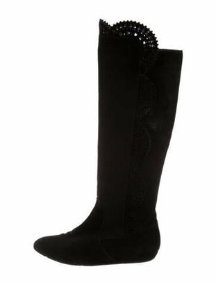 Oscar de la Renta Suede Round-Toe Boots Black
