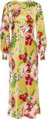 Olivia von Halle Aureta Floral-print Silk-satin Midi Dress