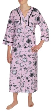 Miss Elaine Floral-Print Long Zipper Front Robe