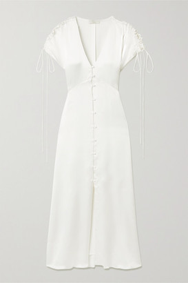 Vanessa Cocchiaro Clara Hammered-satin Midi Dress - White