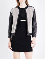 KENDALL + KYLIE KENDALL & KYLIE Leather and cotton-twill bomber jacket