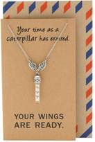 Quan Jewelry Wing Necklace, Inspirational Quote Cards, Graduation Gifts, Glass Vial Necklace, 16-inches to 18-inches