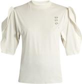 Toga Eyelet-embellished ruffled-sleeve top