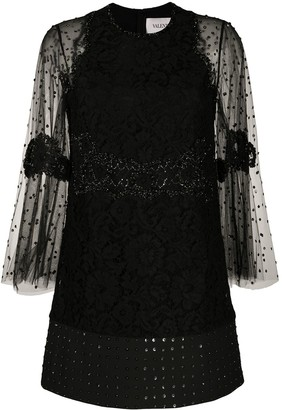 Valentino Floral Lace Embellished Dress