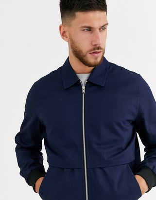 ASOS DESIGN harrington jacket with storm vent in navy