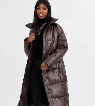 Asos Tall ASOS DESIGN Tall longline leather look puffer coat in chocolate