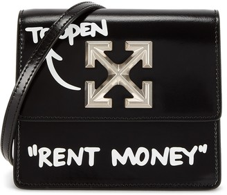 Off-White Jitney 0.7 black leather cross-body bag