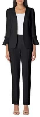 Arthur S. Levine Tulip-Sleeve Crepe Pant Suit