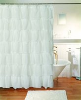 "Lorraine Home Fashions Gypsy Ruffled Shower Curtain White 70"" wide x 72"" long"
