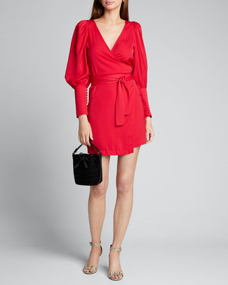 Rhode Resort Frankie Blouson-Sleeve Wrap Dress
