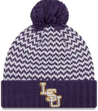 New Era Women's Purple LSU Tigers Patterned Cuffed Knit Hat with Pom