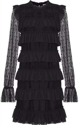 Rebecca Minkoff Ruffled Crepe-Trimmed Point D'esprit Mini Dress