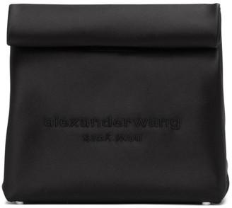 Alexander Wang Black Satin Lunch Bag Clutch