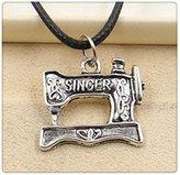 Nobrand No brand Fashion Tibetan Silver Pendant sewing machine Necklace Choker Charm Black Leather Cord Handmade Jewlery