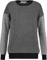 McQ by Alexander McQueen Ribbed-paneled metallic knitted sweater