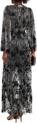 BA&SH Vianca Wrap-effect Printed Lame Maxi Dress