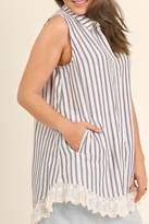 UMG PLUS Striped Collared Tunic