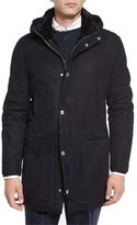 Brunello Cucinelli Suede Shearling Fur-Lined Parka, Navy