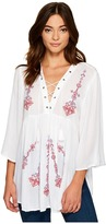 Romeo & Juliet Couture Multicolor Embroidered Lace-Up Tunic Top