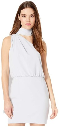 Halston Scarf Neck Dress (Slate Grey) Women's Dress