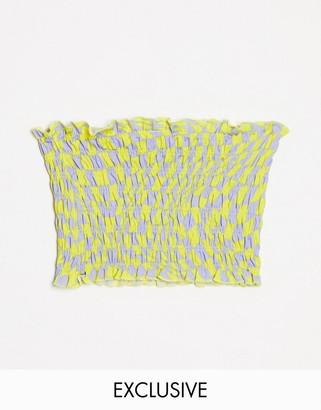 Collusion shirred crop top in checkerboard print co-ord