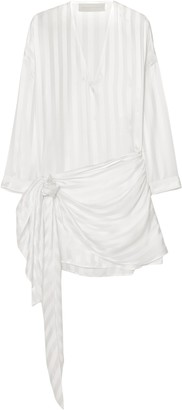 Mason by Michelle Mason Wrap-effect Striped Silk-satin Jacquard Mini Dress