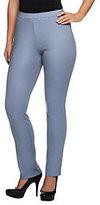 Bob Mackie Bob Mackie's Ponte Knit Side Zip & Button Closure Ankle Pants