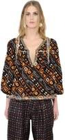 Isabel Marant Embroidered & Printed Silk Twill Shirt