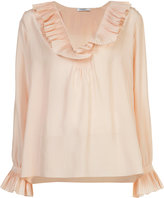 Vilshenko pleated deep neck blouse - women - Silk - 10