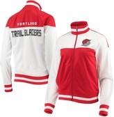 G Iii Women's G-III 4Her by Carl Banks White/Red Portland Trail Blazers Tip Off Rhinestone Tricot Full-Zip Track Jacket
