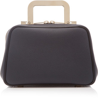 Valextra Series S Mini Leather Metal Top Handle Bag