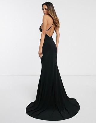 Club L London cross back fishtail maxi dress-Black