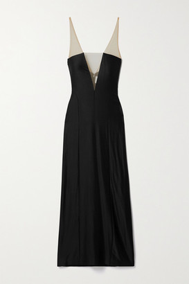 Galvan Blade Tulle-paneled Satin-jersey Midi Dress - Black
