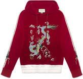 Gucci Velvet sweatshirt with dragon appliqué