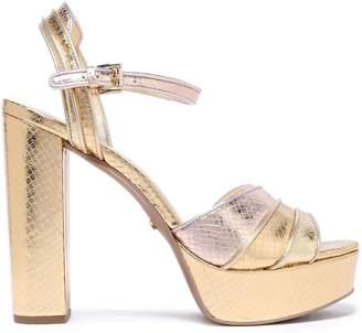 MICHAEL Michael Kors Harper Metallic Snake-effect Leather Platform Sandals