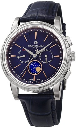Bruno Magli Mens Limited Edition Swiss Made Multifunction Moonphase Watch With Italian Leather Strap Blue & Silver